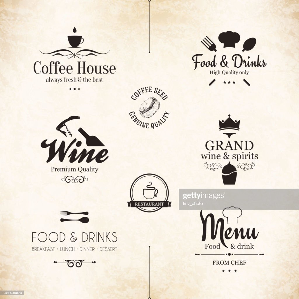 Set of labels for restaurant menu design