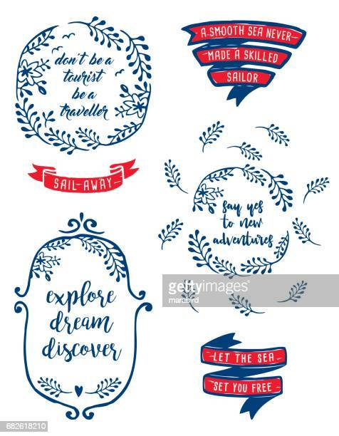 Set of labels travel quotation-text