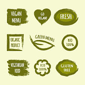Set of labels with text Go Vegan, Fresh, Green Menu, Organic Product, BIO 100%, Vegetarian Food, ECO, Gluten Free. Heart, leaf, circle, square frame, brush stroke.