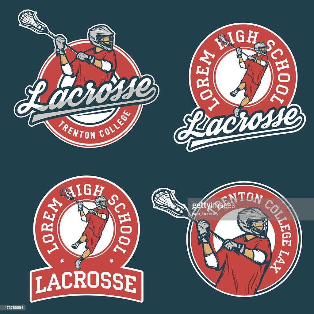 Set of lacrosse team emblems