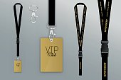 Set of lanyard and badge.