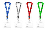 Set of lanyards with id card. Vector illustration isolated on white background.