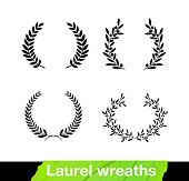 Set of laurel wreaths. Vector illustration white background.