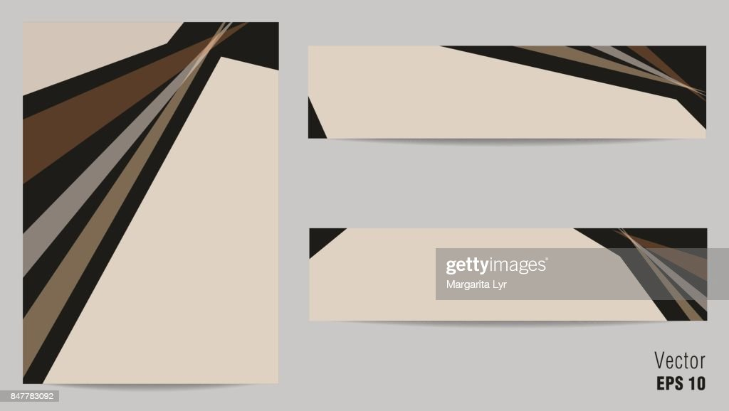 Set of layouts for cover A4 and two banners design. Geometric backgrounds, flat templates for books, magazines, brochures, portfolio, annual reports, advertising. Beige space for text. EPS10 vector illustration