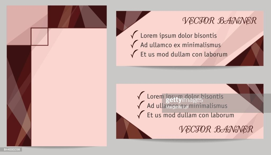 Set of layouts for cover (book, magazine, brochure, portfolio, annual report) and two banners. Geometric backgrounds with text place, technology templates, dark brown, chocolate colour. EPS10 vector illustration