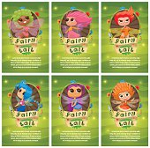 Set of leaflets with fairies