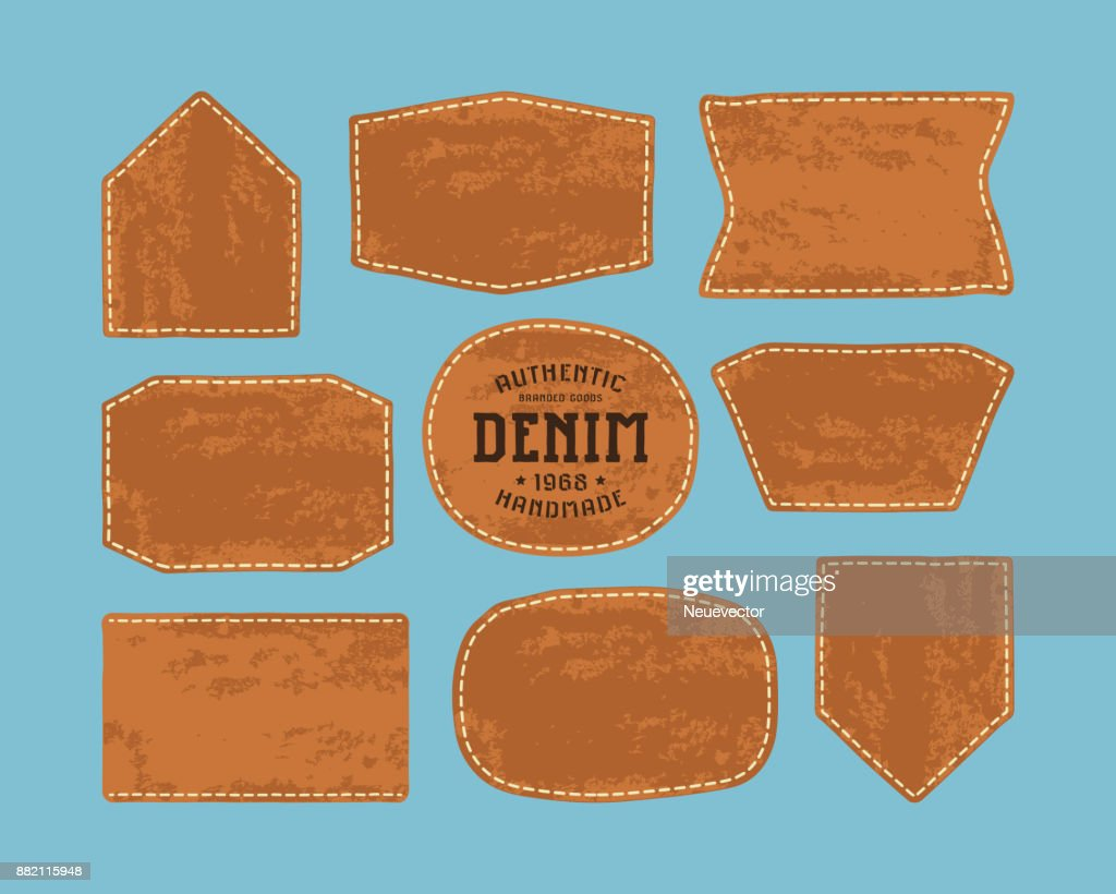 Set of leather patch for denim clothing