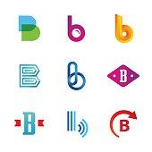 Set of letter B emblem icons design template elements