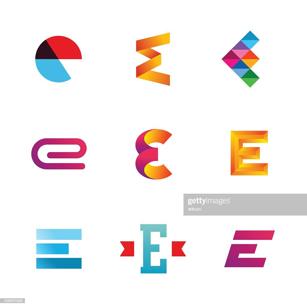 Set of letter E emblem icons design template elements