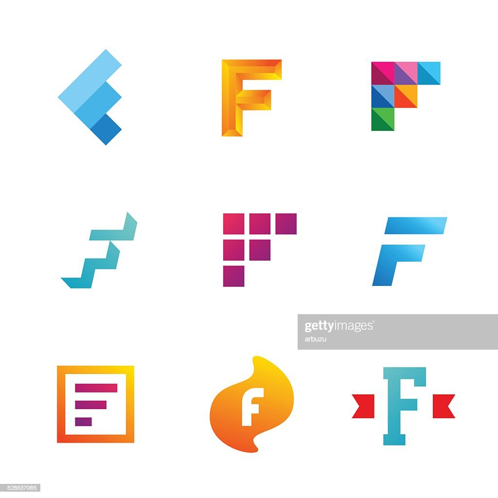 Set of letter F emblem icons design template elements