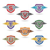 Set of letter shields with wings for insignias, t-shirt graphics, badges, school crests.