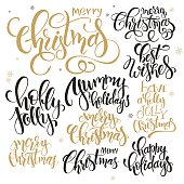set of lettering christmas quotes, written in various styles