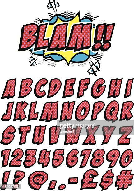 set of letters and numbers in cartoon font - alphabet stock illustrations