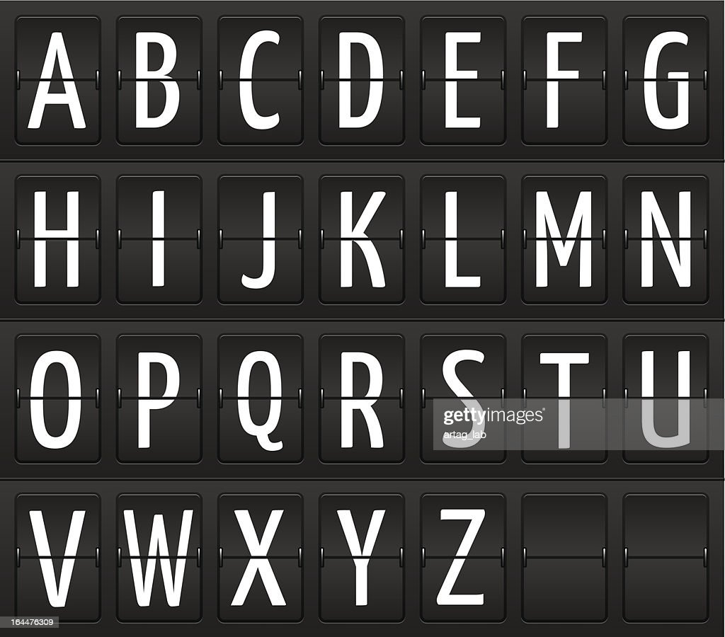Set of letters on a mechanical information board