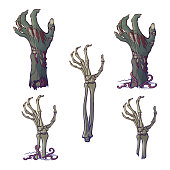 Set of lifelike depicted rotting zombie hands and skeleton hands rising from under the ground and torn apart. Painted linear drawing isolated on white background.