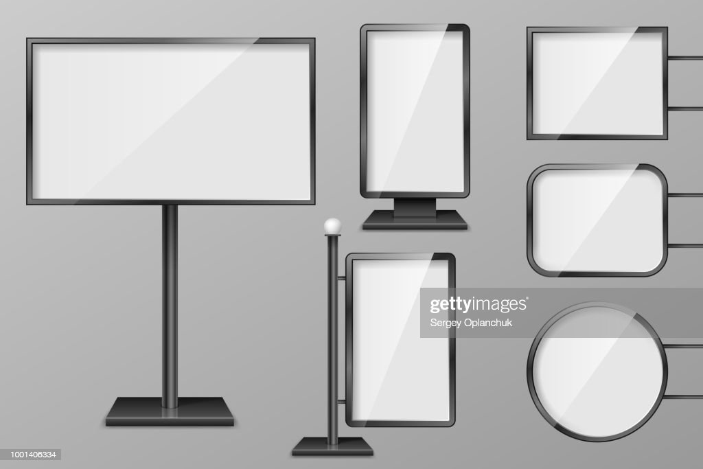 Set of Light boxes template. Outdoor 3d Retail lighting billboards. Realistic boards for advertising and design, signboard and announcement lightbox screen. vector illustration