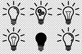Set of light bulb icon, isolated.