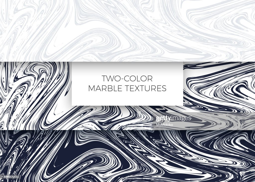 Set of light gray and dark blue marble textures. Vector backgrounds