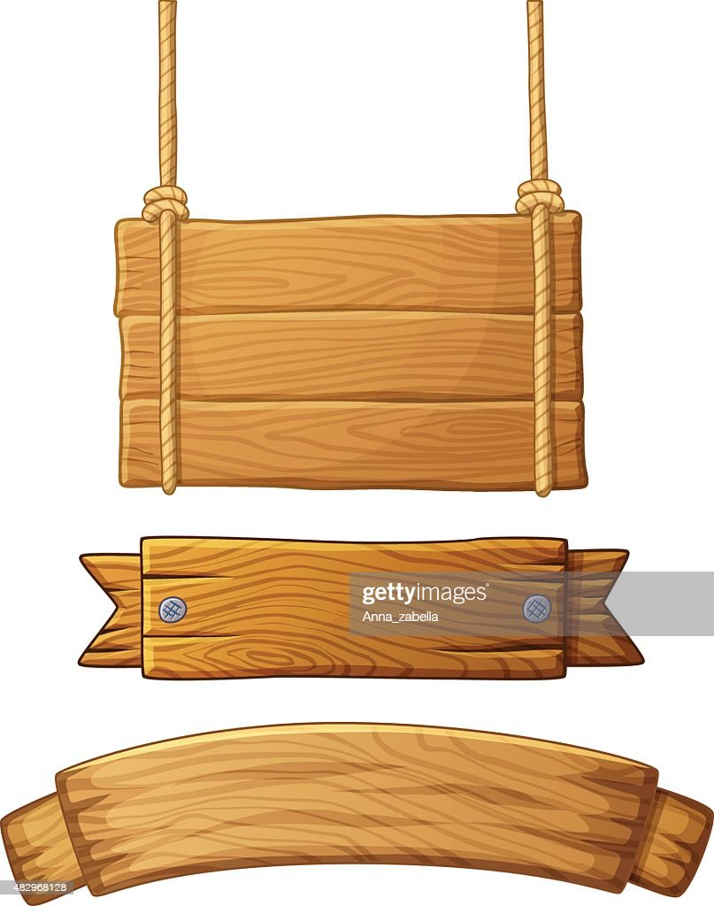 Set of light wooden banners. Vector illustration
