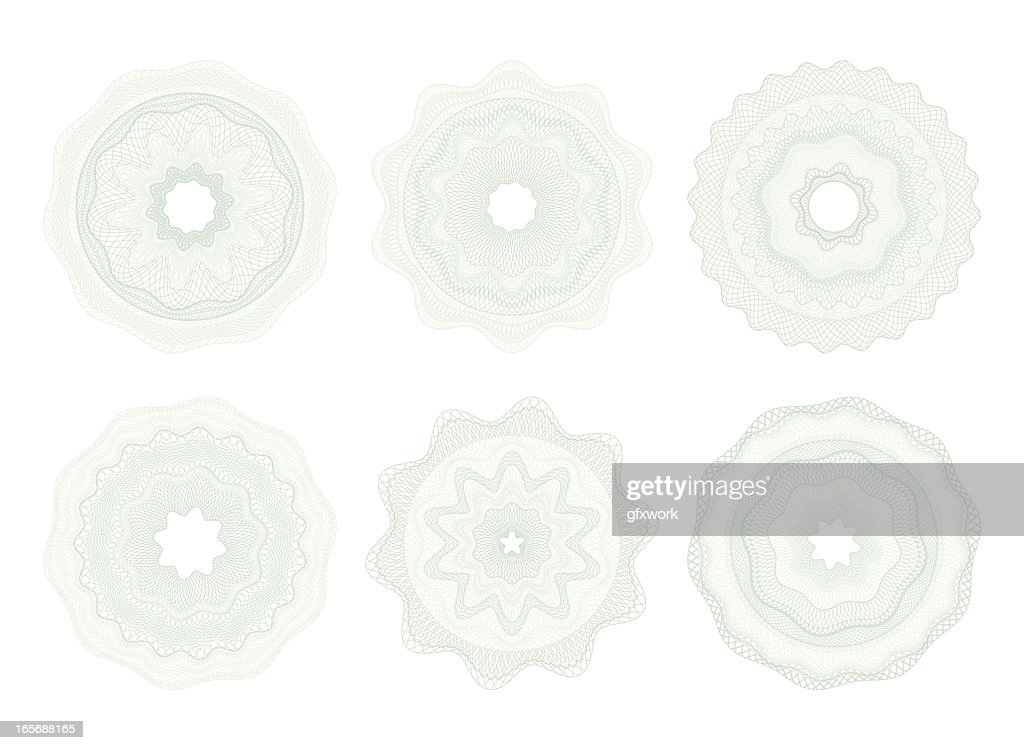 Set of light-colored circular money patterns
