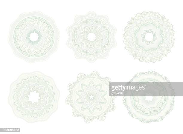 Set of light-colored circular money patterns