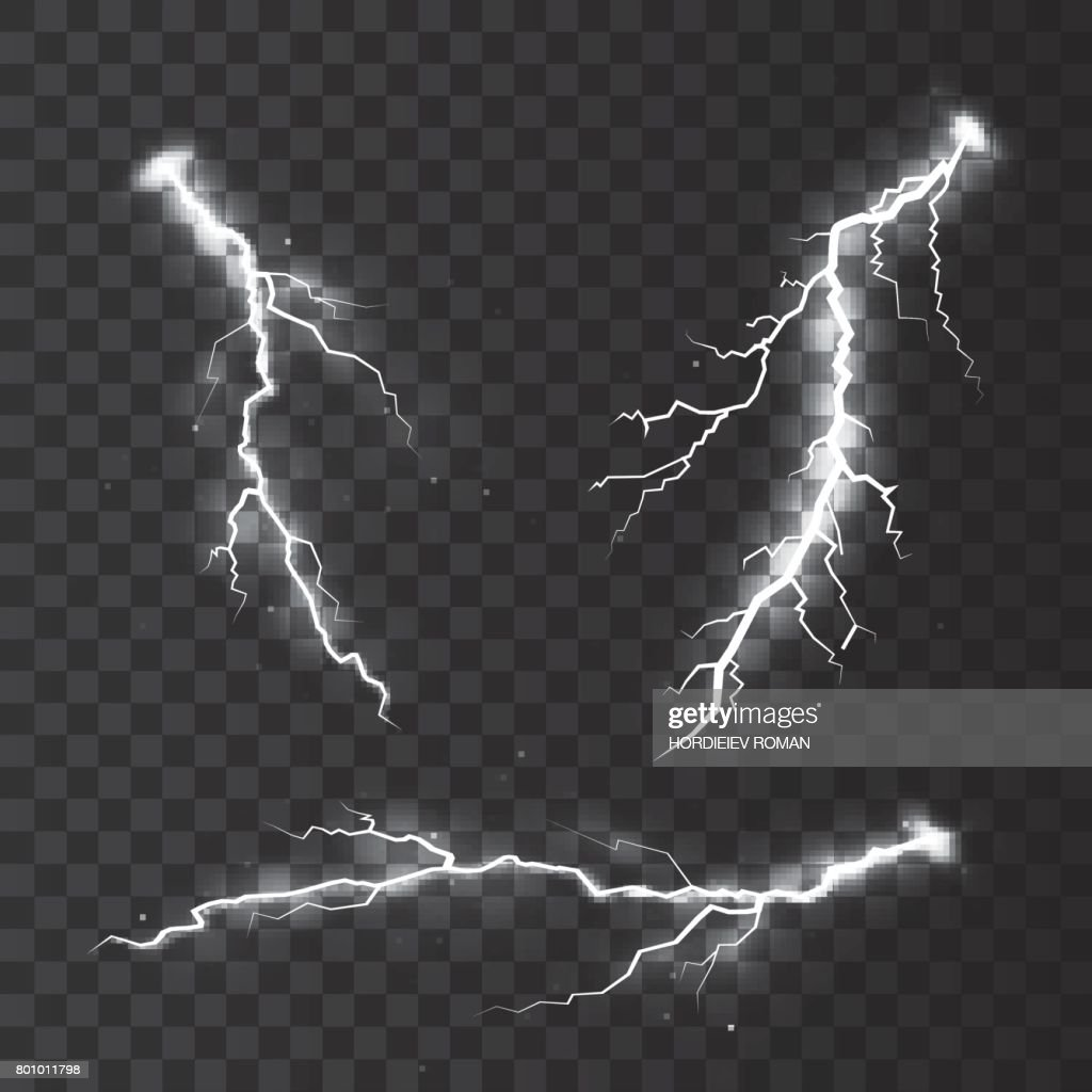 Set of lightnings. Magic and bright lighting effects