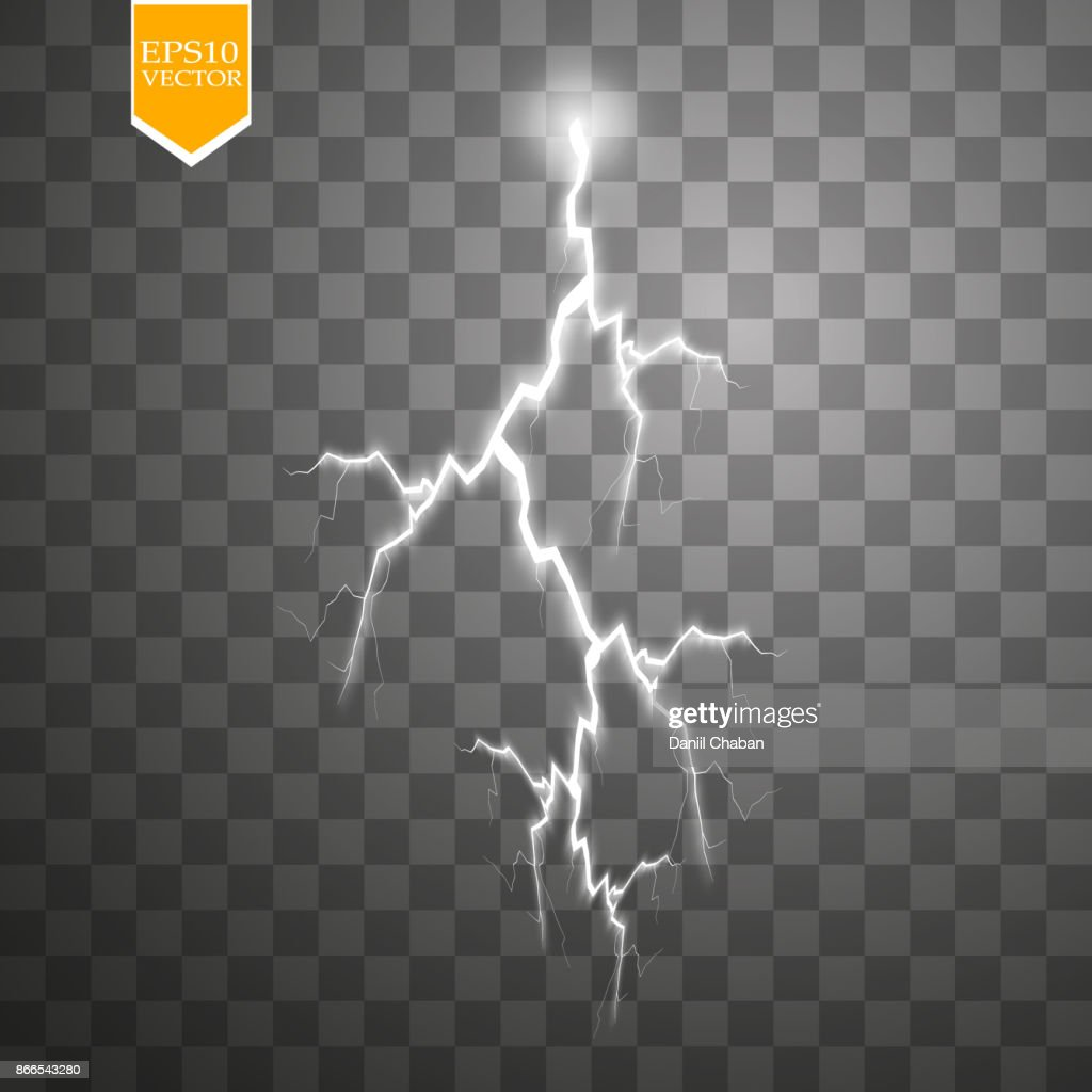 Set of lightnings. Thunder-storm and lightnings. Magic and bright lighting effects