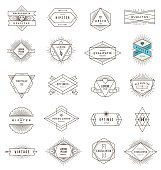 A set of line art emblems on a white background
