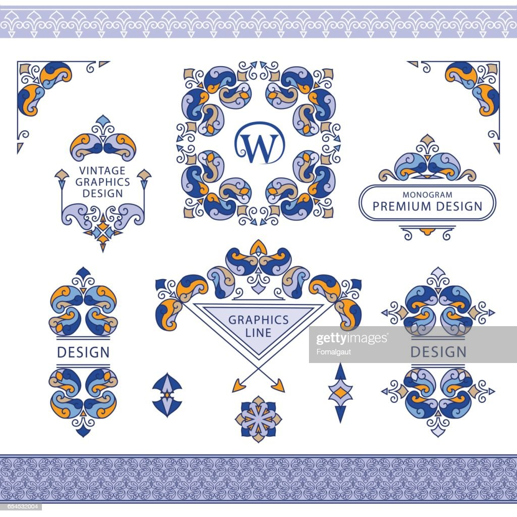 Set of line art frames and borders for design template. Element in Eastern style. letter W. Color floral frames. Mono line decor for invitations, greeting cards, certificate. Vector illustration