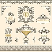 Set of line art frames and borders for design template. Element in Eastern style. letter R. Outline floral frames. Mono line decor for invitations, greeting cards, certificate. Vector illustration
