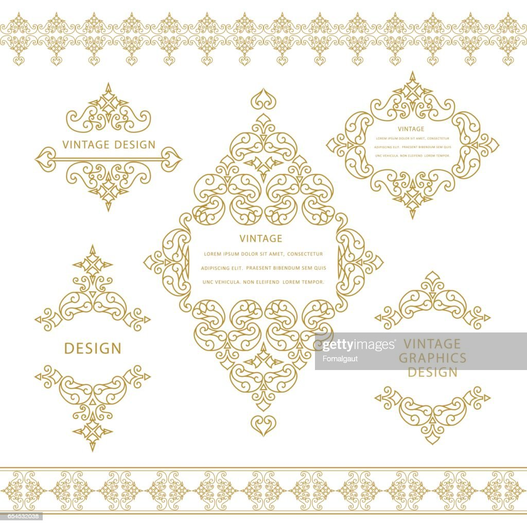 Set of line art frames and borders for design template. Element in Eastern style. Outline floral frames. Mono line decor for invitations, greeting cards, certificate. Vector illustration