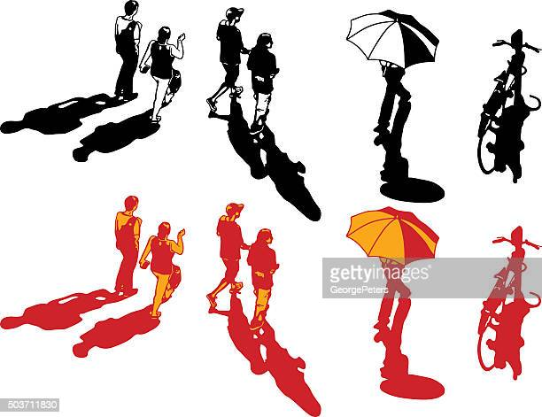 Set Of Line Art Illustrations Of Real People Walking