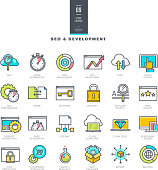 Set of line color icons for SEO and website development