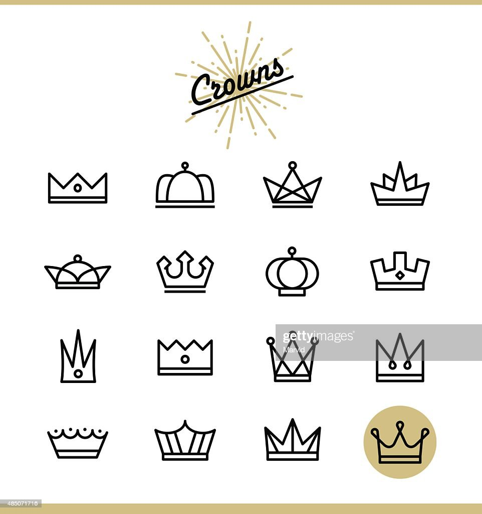 Set of line crown icons