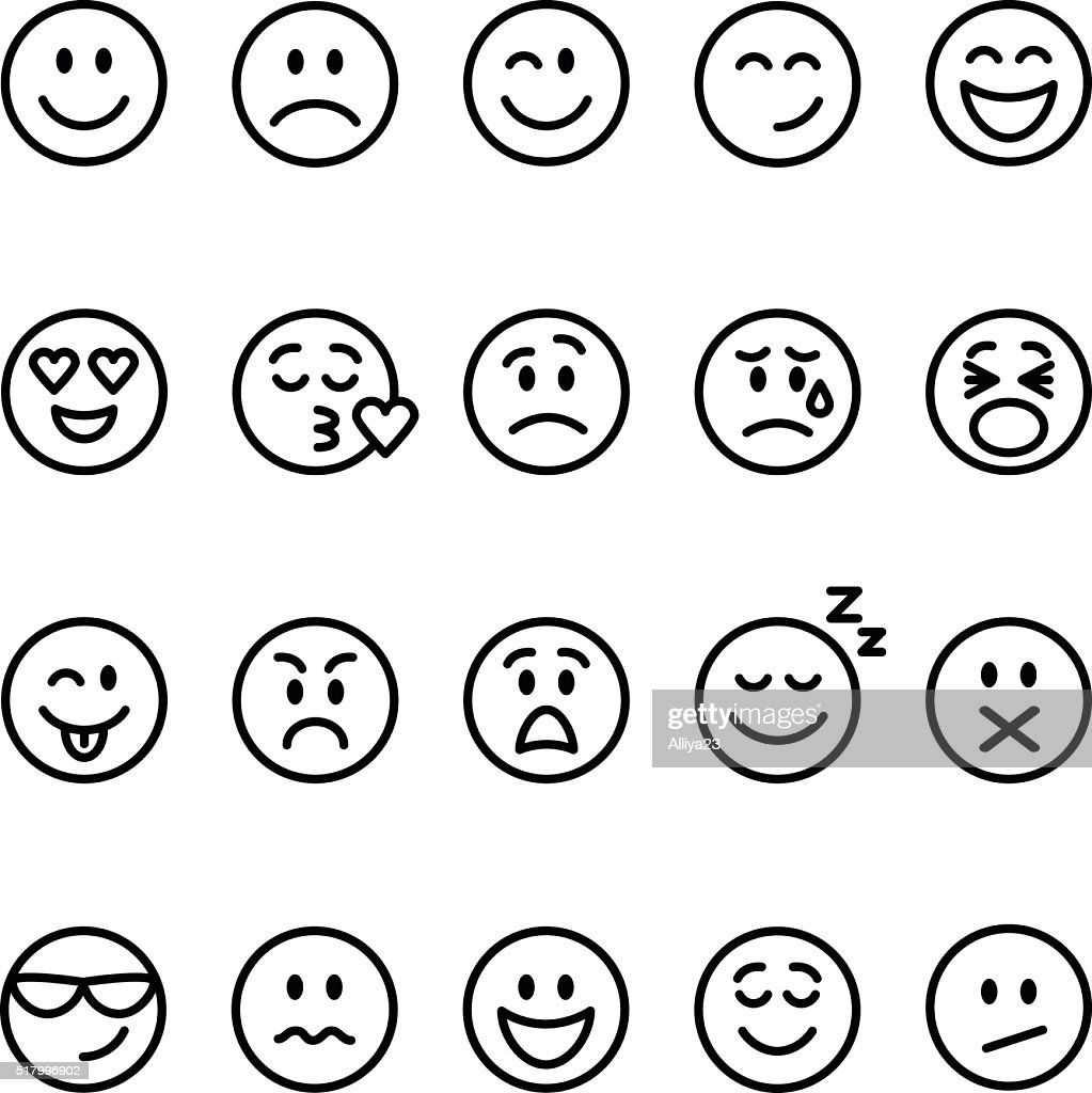 Set of line emoticons