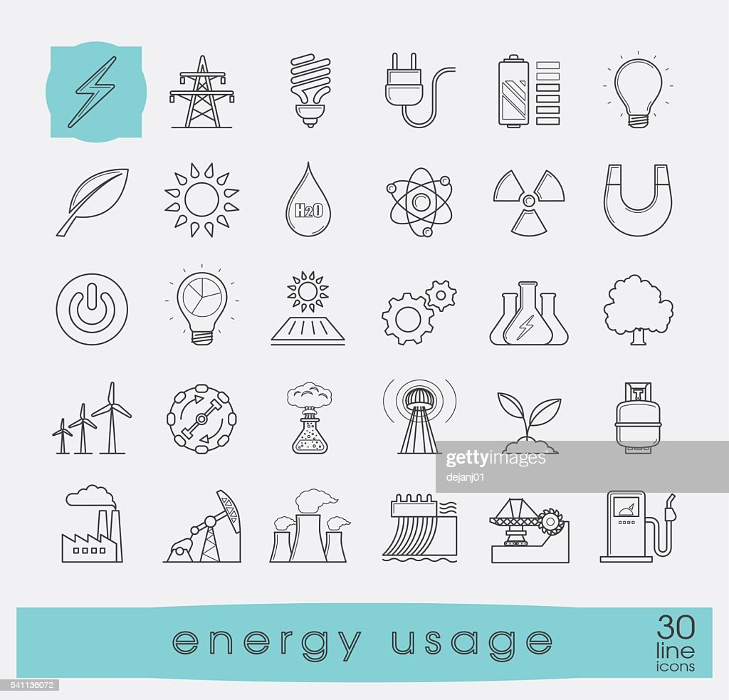 Set of line energy icons. Various energy sources.