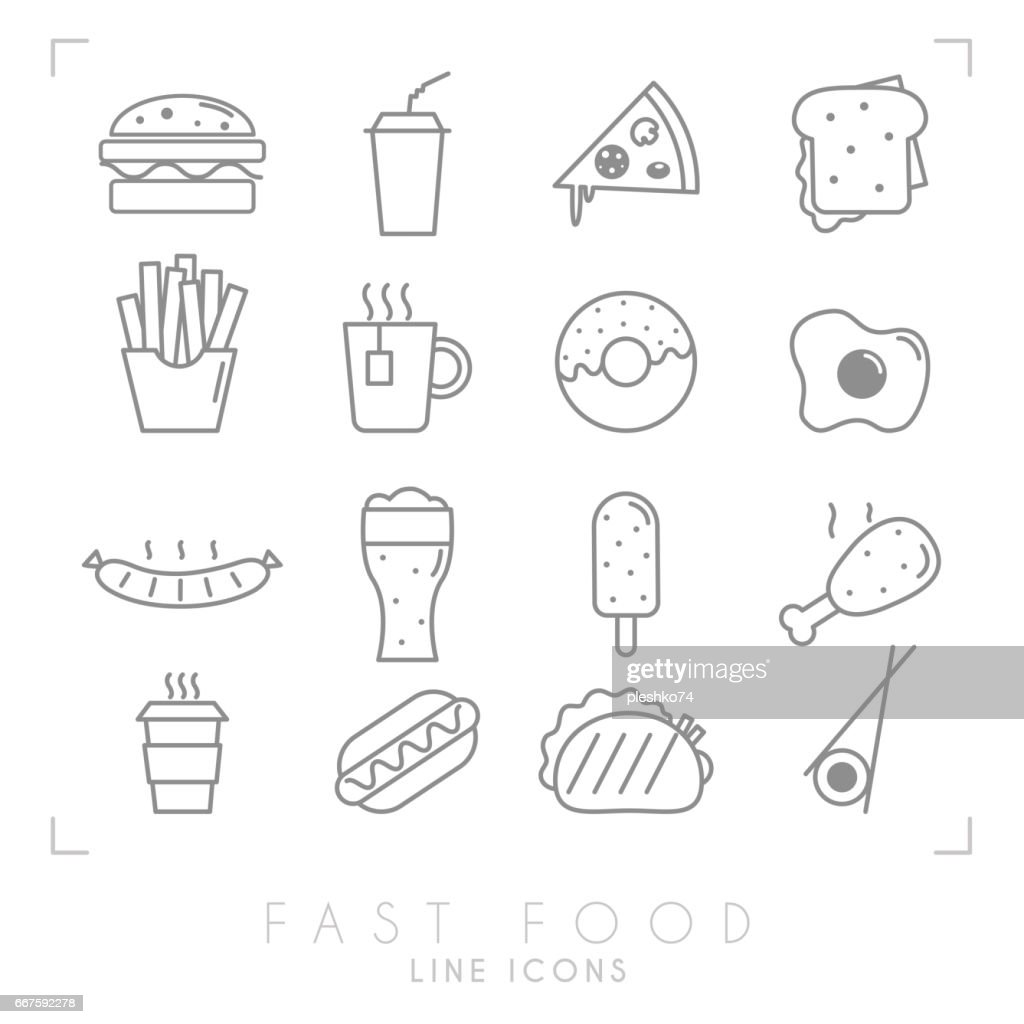 Set of line fast food icons.Thin line style.