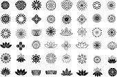 Set of line flower design elements. Plant, blossom and lotus icons