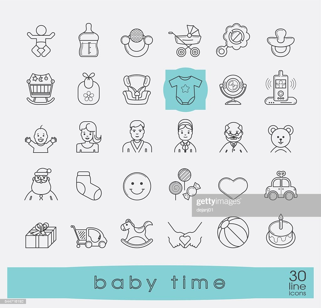 Set of line icons for baby care, feeding and play.