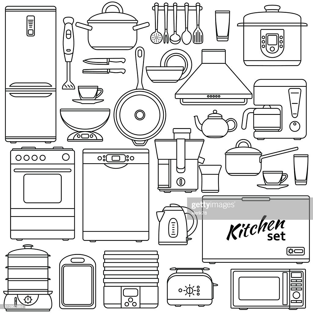 Set of line icons. Kitchen appliances and accessories
