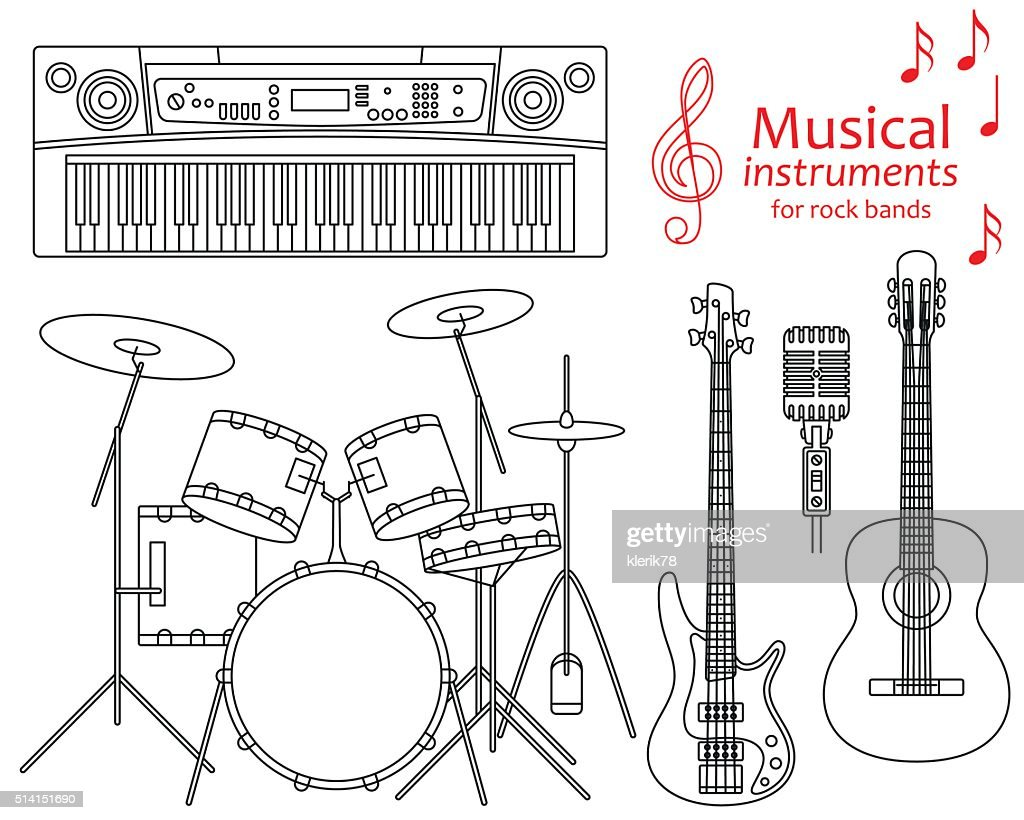 Set of line icons. Musical instruments for rock bands