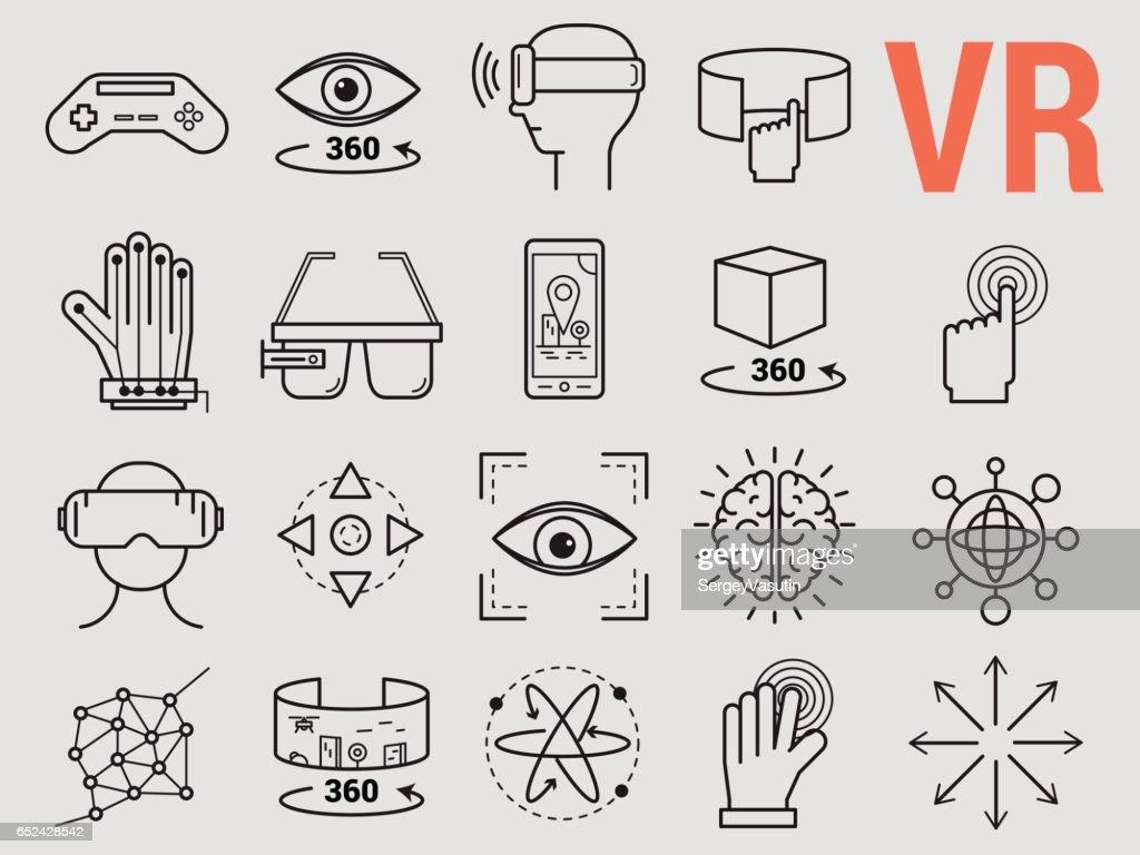 Set of line icons - virtual reality