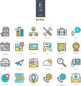 Set of line modern color icons for website design