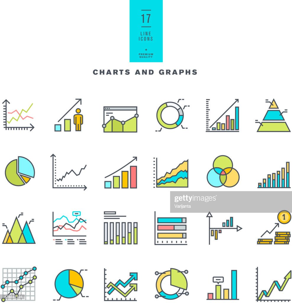 Set of line modern color icons of charts and graphs
