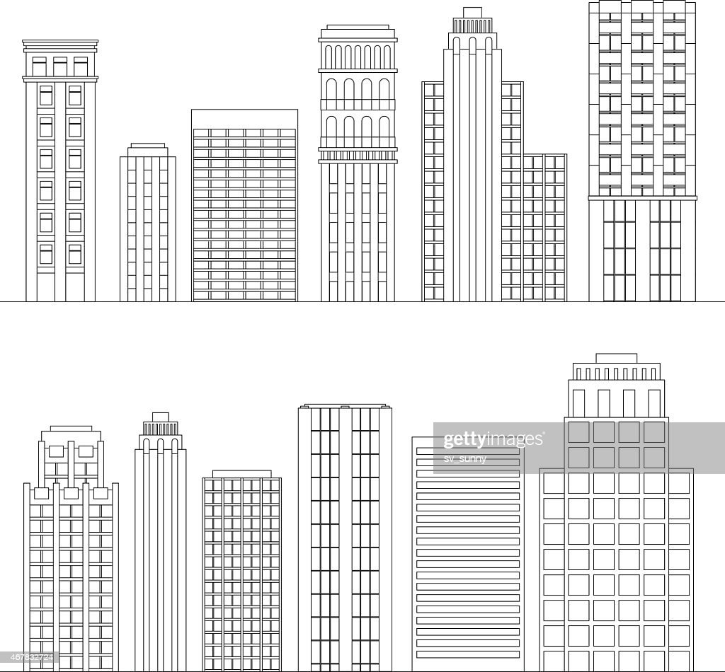 Set of line skyscrapers. Black and white