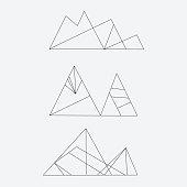 set of line style mountain icon