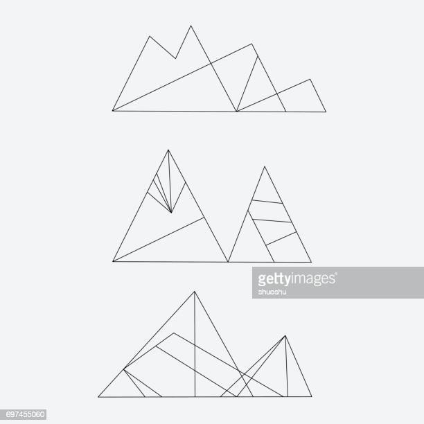 set of line style mountain icon