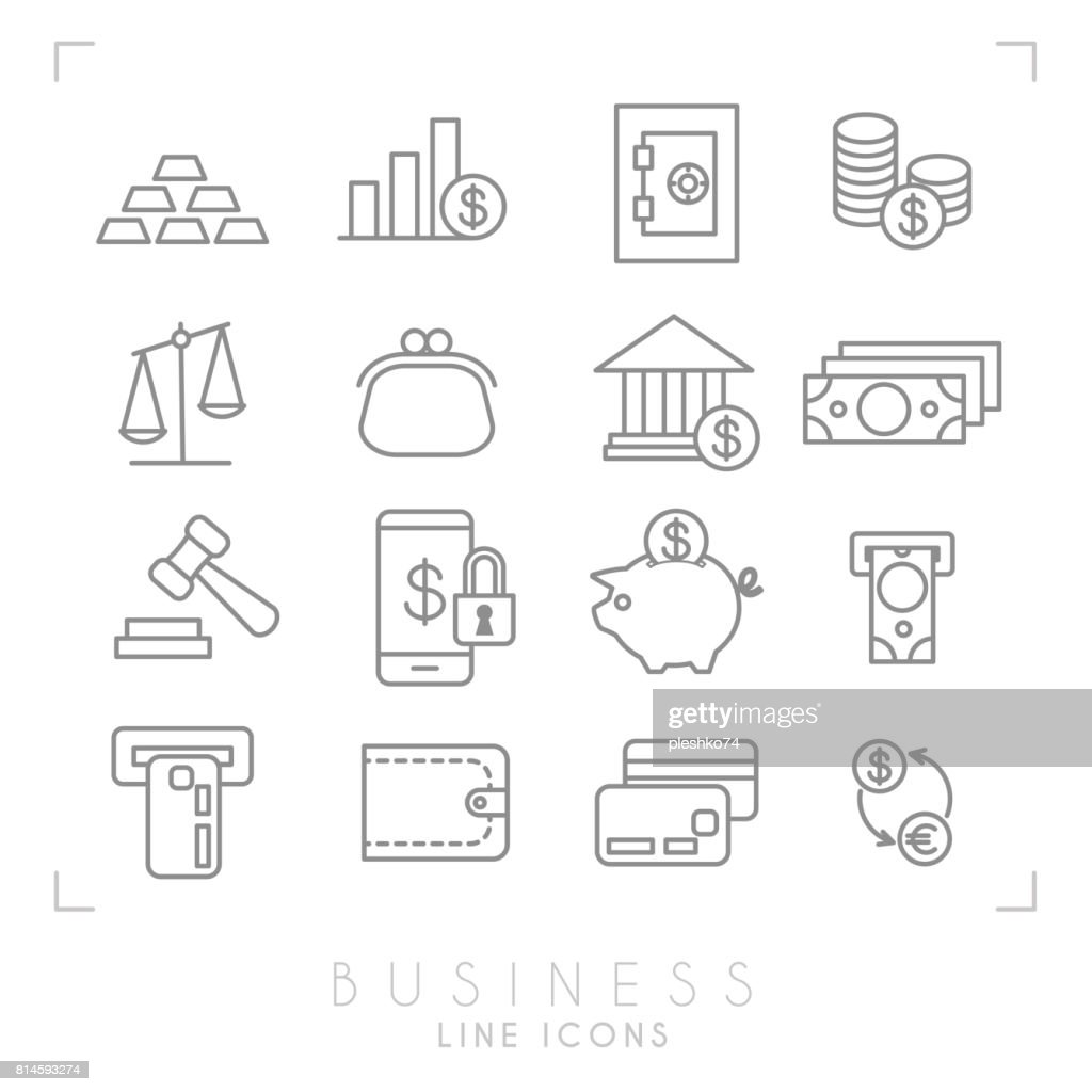 Set of line thin business and financial icons. Gold, graph, safe storage, coins, libra, purse, bank, dollars, gavel, smartphone lock, piggy bank, money and card slot, wallet, money card, euro dollar exchange.