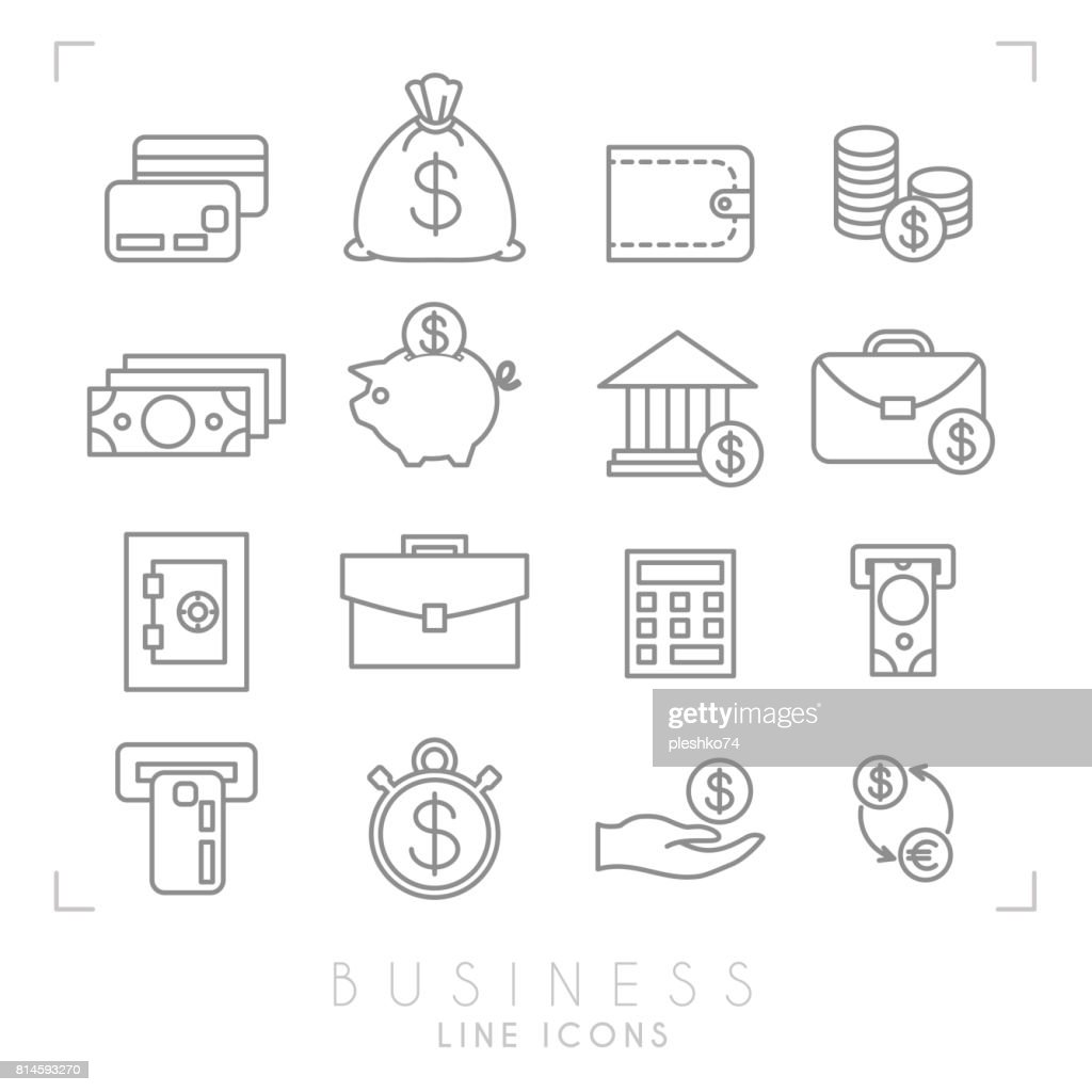 Set of line thin business and financial icons. Money card, cash bag, wallet, coins, dollars, piggy bank, bank, brief case, safe storage, calculator, ATM slot with cash and card, timer, hand with money and dollar euro exchange.
