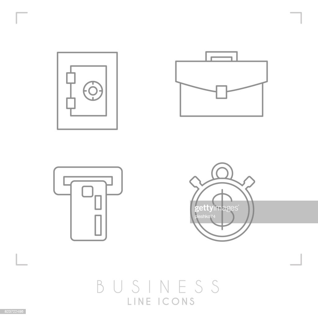 Set of line thin business and financial icons. Safe, atm with card, brief case and stopwatch.
